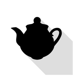 tea maker sign black icon with flat style shadow vector image