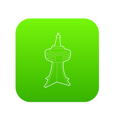 television tower icon green vector image