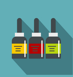 Three tattoo ink bottles icon flat style vector