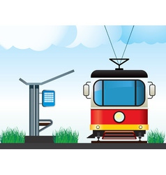 Tram on the stop vector