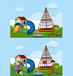 Two playground scenes with and without children vector