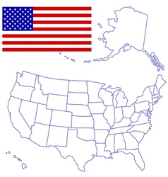USA Map and flag vector