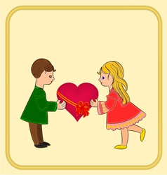Valentines Day Cute figure Kids and heart vector image