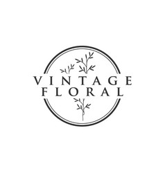 vintage floral logo icon element design template vector image