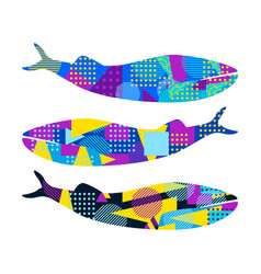 Whale with memphis pattern geometric elements vector