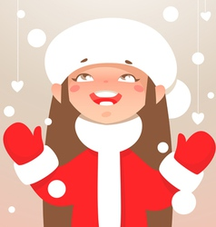 Winter happy girl vector image