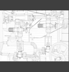 Wire-frame industrial equipment vector