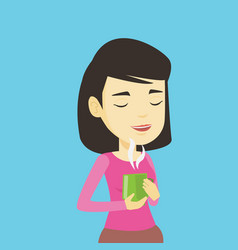 Woman enjoying cup of coffee vector