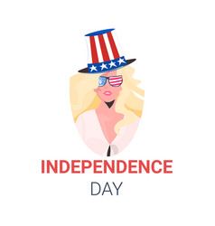 Woman in festive hat with usa flag celebrating 4th vector
