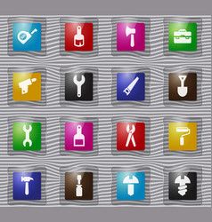 Work tools glass icons set vector