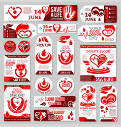 world blood donor day tag label and banner design vector image