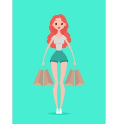Young hipster woman with shopping bags Design vector image
