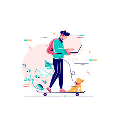 Young man freelancer with dog using laptop run vector