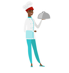 Chef cook holding towel and cloche vector