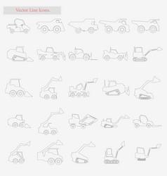 excavator set style line icons on white vector image
