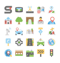 maps and navigation flat icons set 5 vector image