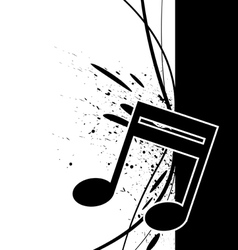 Music note with ink splatter vector