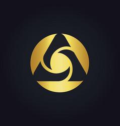 round circle media technology abstract gold logo vector image vector image