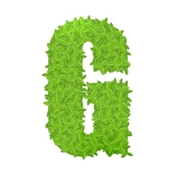 Uppecase letter G consisting of green leaves vector image vector image