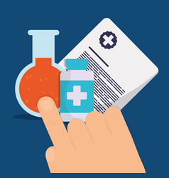 hand with medicine bottle and test tube vector image