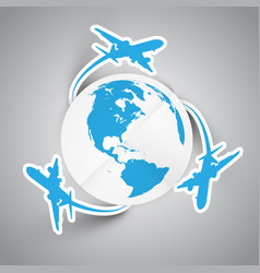 paper planes and earth vector image