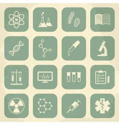 Retro science medical and education icons vector image vector image