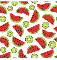 seamless pattern with watermelon and kiwi vector image vector image