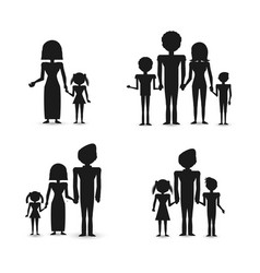 silhouette group people family vector image