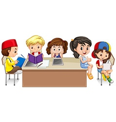 Students reading books in classroom vector image vector image