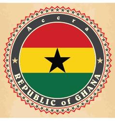 Vintage label cards of Ghana flag vector image vector image