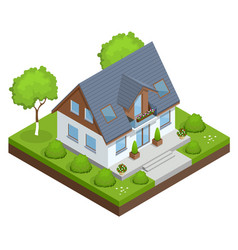 a compact eco house with solar panels on roof vector image