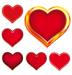 collection of 6 valentines hearts vector image