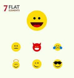 Flat icon face set of laugh cold sweat angel and vector