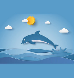 jumping dolphin in sea waves paper art style vector image vector image