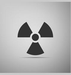 radiation symbol flat icon on grey background vector image