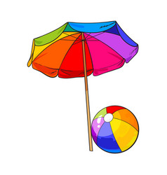rainbow colored open beach umbrella and inflated vector image vector image