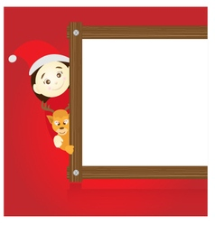 Santa claus and reindeer holding wood board on red vector image vector image