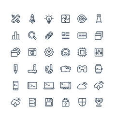 thin line icons set with digital vector image vector image