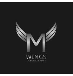 Wings M letter logo vector image vector image