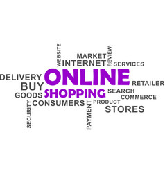 word cloud - online shopping vector image