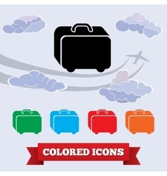 Bag icon Traveling luggage Airport baggage info vector image