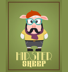 funny hipster sheep vector image vector image