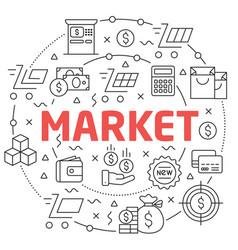 market linear slide for the vector image vector image