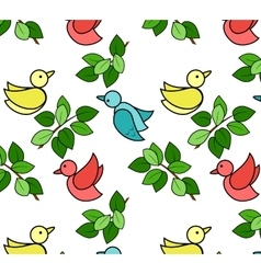 Pattern with birds and leaves vector image vector image