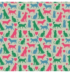 Seamless pattern with cats and dogs vector image
