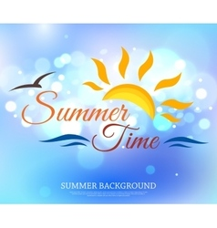 Shining summer time typographical background with vector image vector image