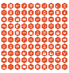 100 interaction icons hexagon orange vector