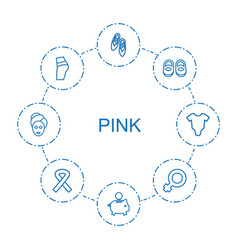 8 pink icons vector