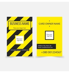 Abstract yellow stripes business cards vector image