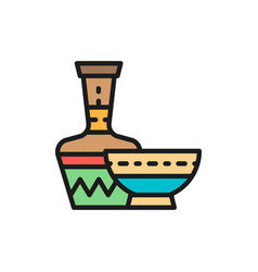 African ethnic pottery bowl jug flat color line vector